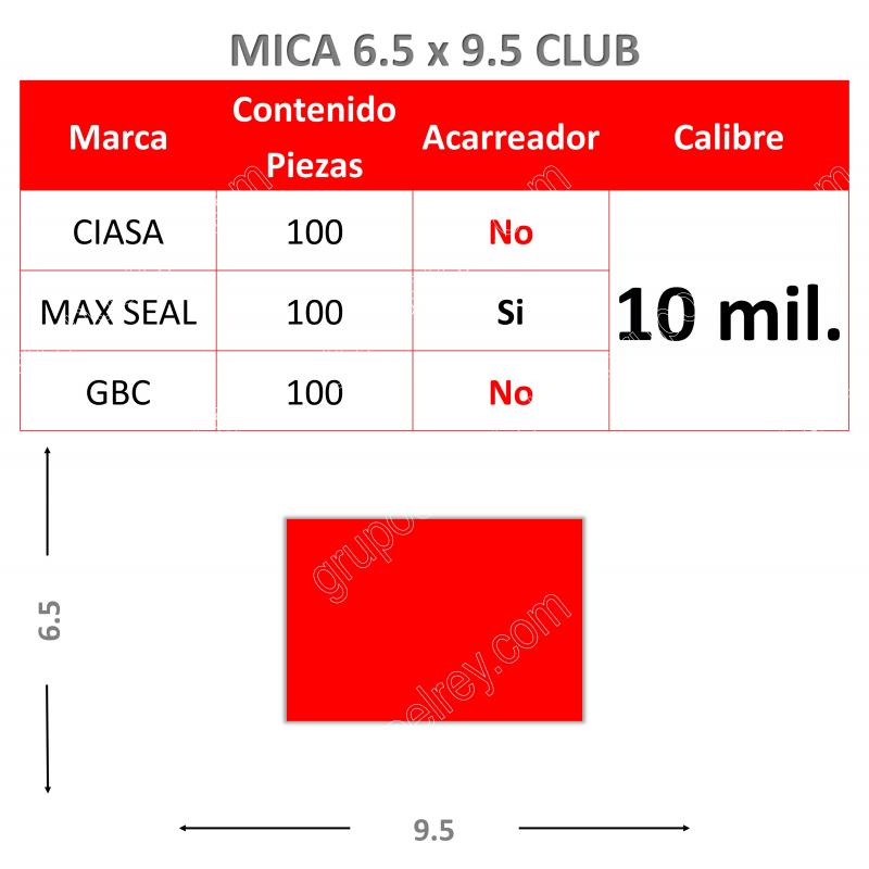 MICA TERMICA 6.5 x 9.5