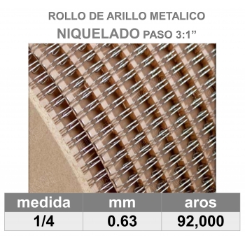 BOBINA / ROLLO 1/4 NIQUELADO