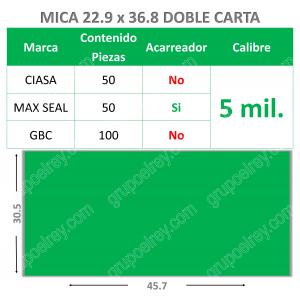 MICA TERMICA DOBLE CARTA 5mm